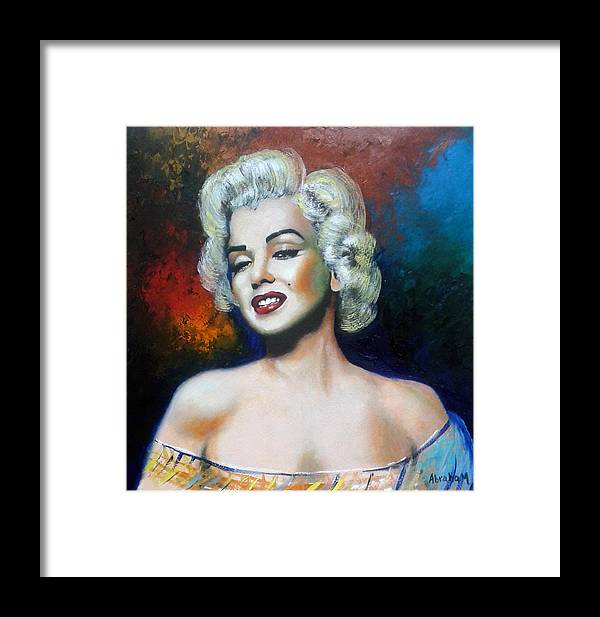 Women Star Framed Print featuring the painting M. Monroe by Jose Manuel Abraham