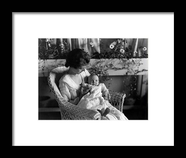 Mother Framed Print featuring the photograph Mother Holding Baby 1910s Black White Archive by Mark Goebel