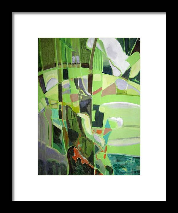Abstract Framed Print featuring the painting Natura Aroma by Therese AbouNader
