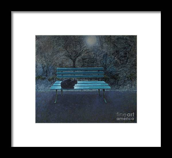 Black Cat Framed Print featuring the painting Night in the Garden by Raimonda Jatkeviciute-Kasparaviciene