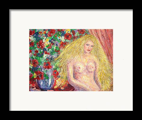 Nude Framed Print featuring the painting Nude Fantasy by Natalie Holland