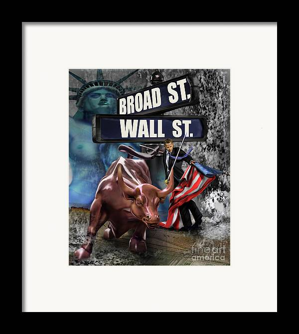 Wall Street Framed Print featuring the painting Ole Obama - Ole - Ole - Ole by Reggie Duffie