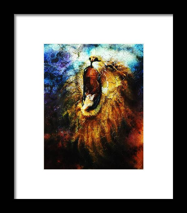 Art Framed Print featuring the painting Painting Of A Mighty Roaring Lion Emerging From An Abstract Desert Pattern Pc Collage by Jozef Klopacka
