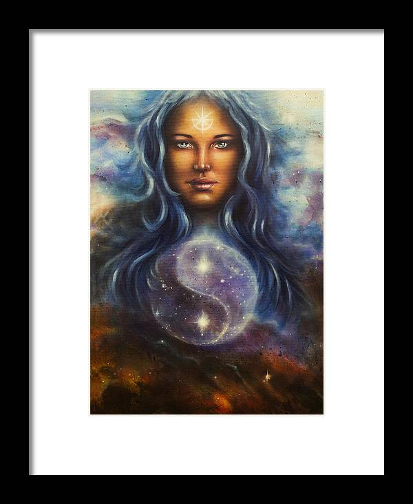 Art Framed Print featuring the painting Painting On Canvas Of A Space Woman Goddess Lada As A Mighty Loving Guardian With Symbol Jin Jang by Jozef Klopacka