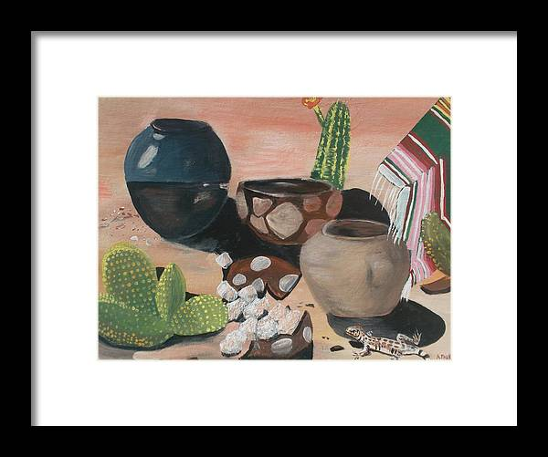 Pottery Framed Print featuring the painting Pottery In The Desert by Aleta Parks