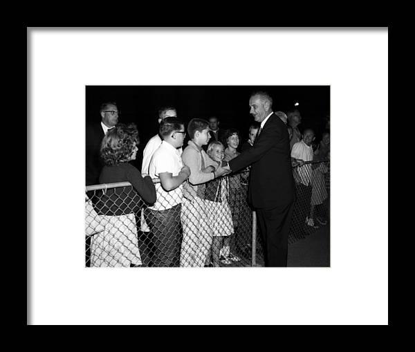 President Framed Print featuring the photograph President Lyndon Johnson Shaking Childrens Hands by Mark Goebel