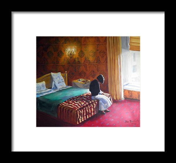 Small Hotel Room Interior Framed Print featuring the painting Relais dei Papi Rome by Dan Bozich