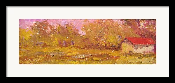 Oil Painting Framed Print featuring the painting Rural Farmstead South Carolina Usa by Belinda Consten