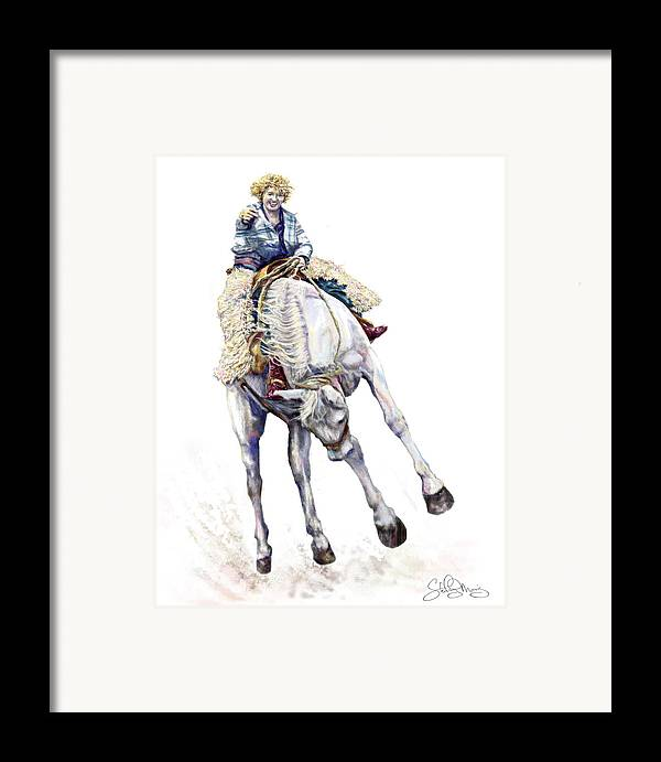 Cowgirl Framed Print featuring the painting Ruthies Big Easy by Shirley Morris