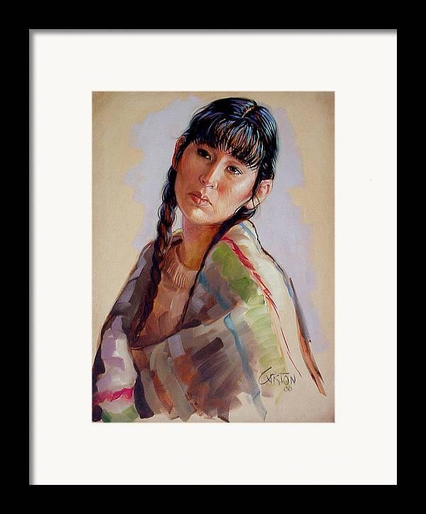 Sacajawea Framed Print featuring the painting Sacajawea  Study by Jerrold Carton