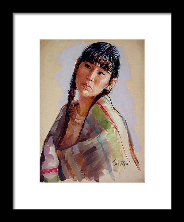 Sacajawea Framed Print featuring the painting Sacajawea  Study by Jerrold Carton