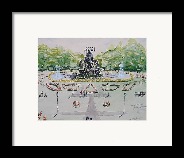 Locked Garden Erlangen University Germany Framed Print featuring the painting Schlossgarten Erlangen University Germany by Alfred P Verhoeven