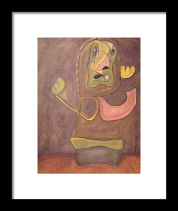 Abstract Face Framed Print featuring the painting Sitting Stone by W Todd Durrance