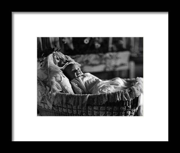 Smiling Framed Print featuring the photograph Smiling Baby In Bassinet 1910s Black White Boy by Mark Goebel