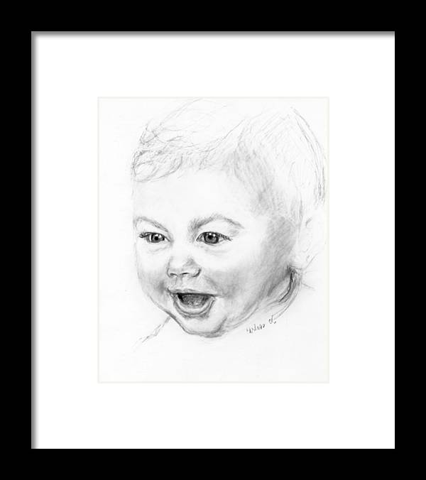 Baby Little Girl Baby Face Framed Print featuring the print So Excited by Carliss Mora