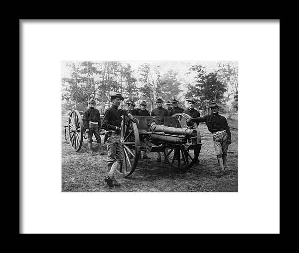 Soldiers Framed Print featuring the photograph Soldiers Cannon 1898 Black White 1890s Archive by Mark Goebel