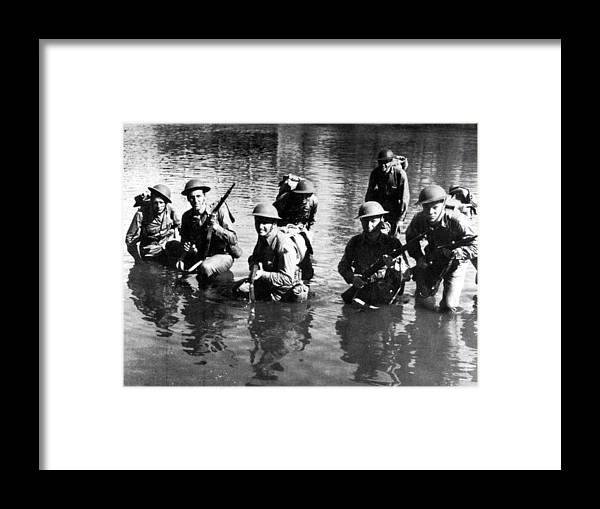 Soldiers Framed Print featuring the photograph Soldiers Rifles Walking Through Water 1943 Black by Mark Goebel