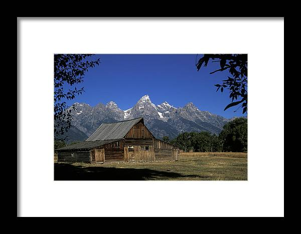 Late Snow Framed Print featuring the photograph South Moulton Barn Grand Tetons by Gary Langley