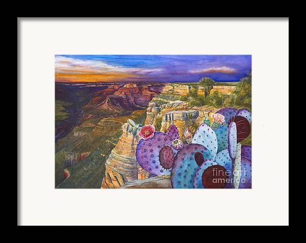 Canyon Framed Print featuring the painting South Rim Wonders by Jany Schindler