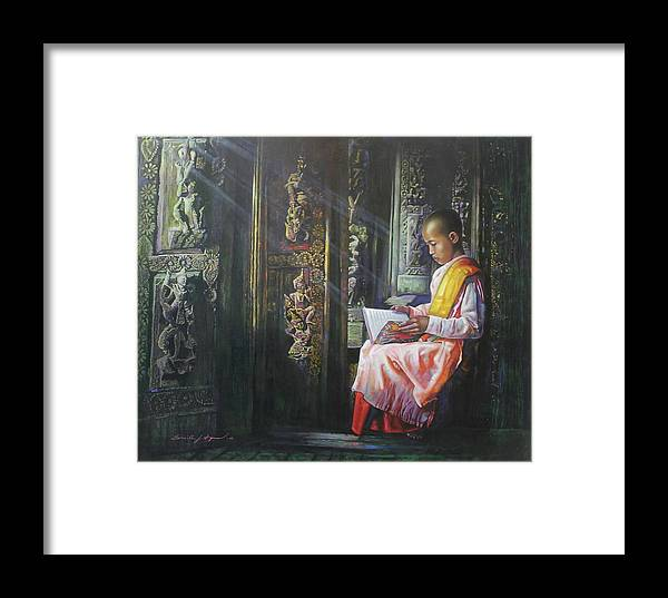Portrait Framed Print featuring the painting Studying Nun by U Sein Linn