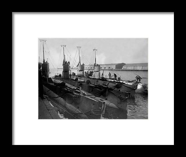 Submarines Framed Print featuring the photograph Submarines In Harbor Circa 1918 Black White by Mark Goebel