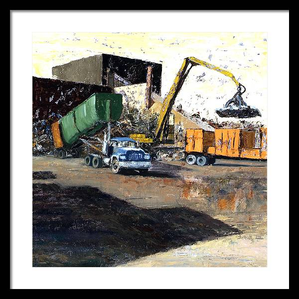 Trucks And Cranes At A Steel And Aluminum Recycling Center Chicago Industrial Corridor Framed Print featuring the painting The Blue Truck by Nancy Albrecht