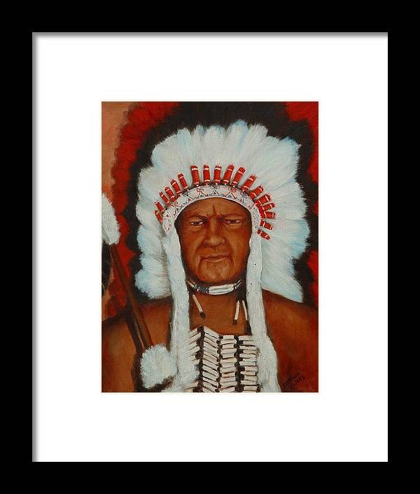 Portriat Framed Print featuring the painting The Chief by Merle Blair