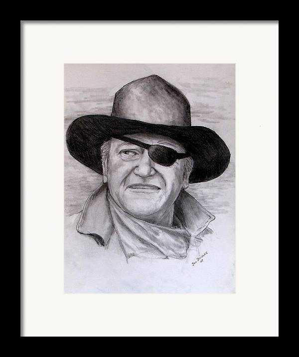 Cowboy Framed Print featuring the drawing The Duke by Jack Skinner