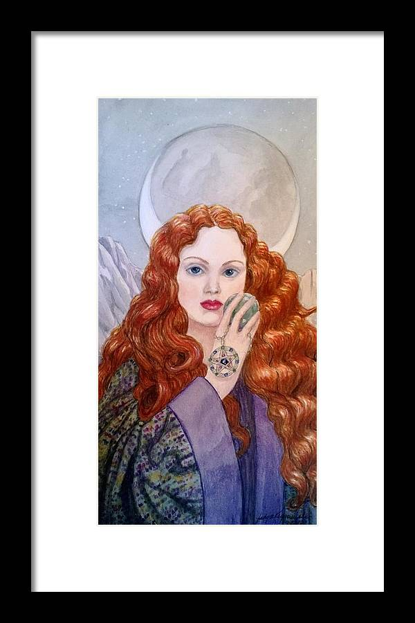 Mage Framed Print featuring the painting The Horned Moon by Judy Riggenbach