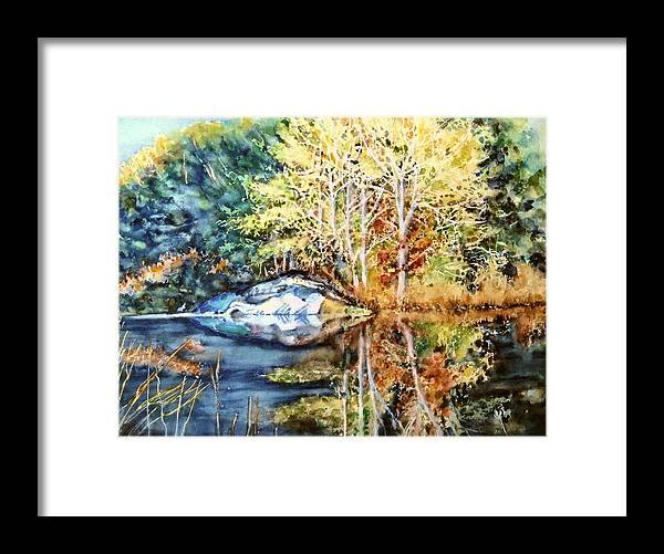 Trees Framed Print featuring the painting The Tree Across The Pond by June Conte Pryor