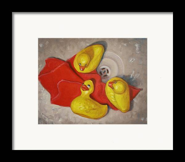 Realism Framed Print featuring the painting Three Rubber Ducks #1 by Donelli DiMaria