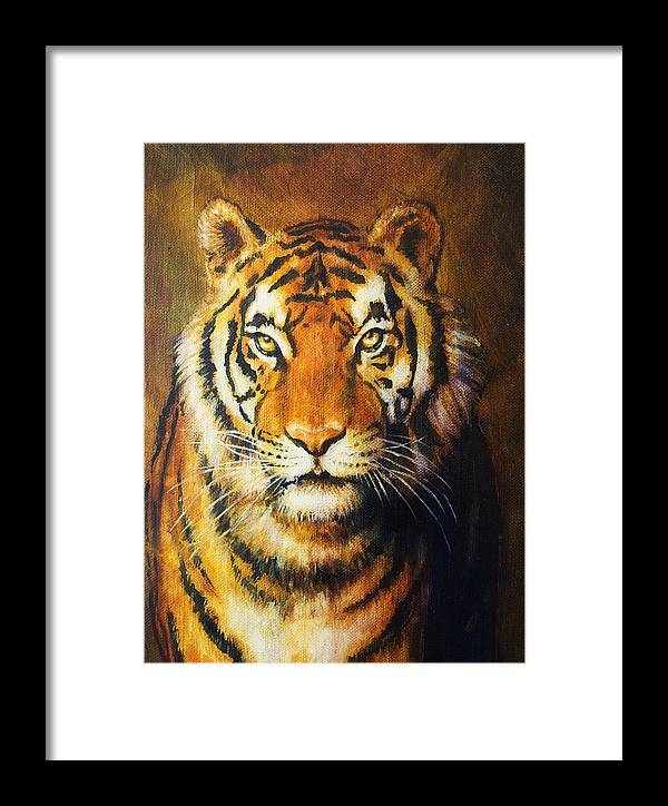Tiger Framed Print featuring the painting Tiger Head, Color Oil Painting On Canvas. by Jozef Klopacka