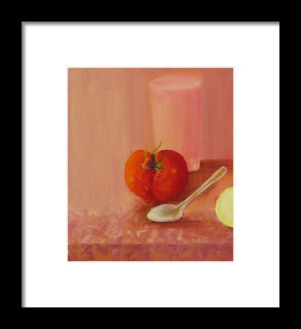Still Life Framed Print featuring the painting Tomato And Juice by Selma Sulaiman