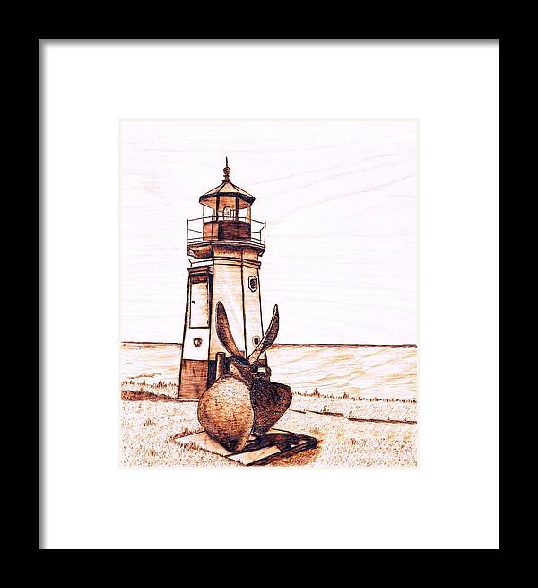 Lighthouse Framed Print featuring the pyrography Vermilion Lighthouse by Danette Smith