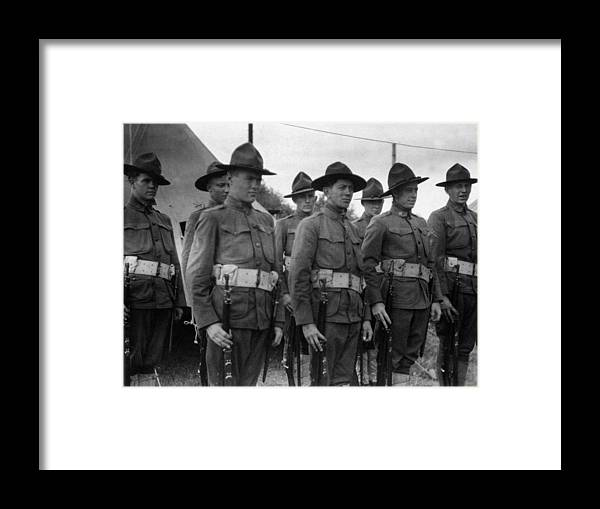 Soldiers Framed Print featuring the photograph W Soldiers Standing Attention 19171918 Black by Mark Goebel