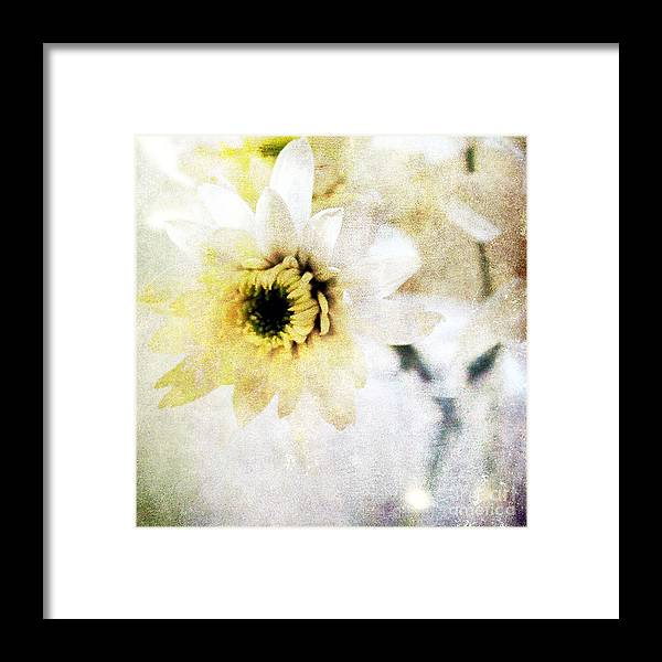 Flower Framed Print featuring the mixed media White Flower by Linda Woods