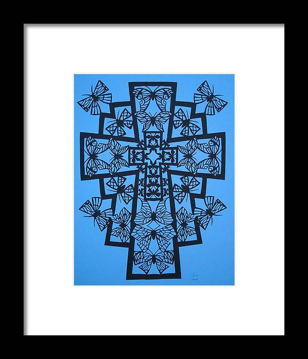 Beliefs Framed Print featuring the mixed media 001 Butterfly-cross by Tong Steinle