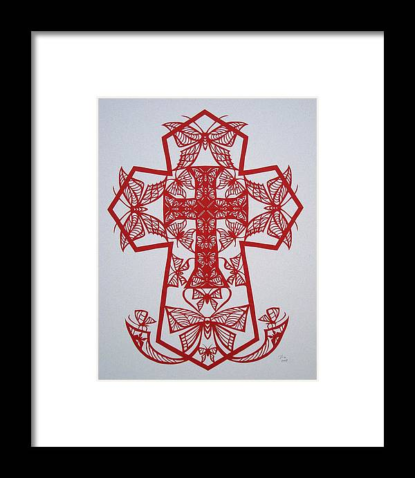 Beliefs Framed Print featuring the mixed media 003 Butterfly-cross by Tong Steinle