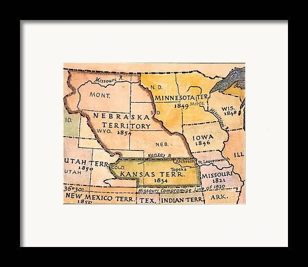 1854 Framed Print featuring the painting Kansas-nebraska Map, 1854 by Granger