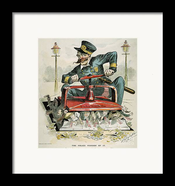 1894 Framed Print featuring the painting Police Corruption Cartoon by Granger