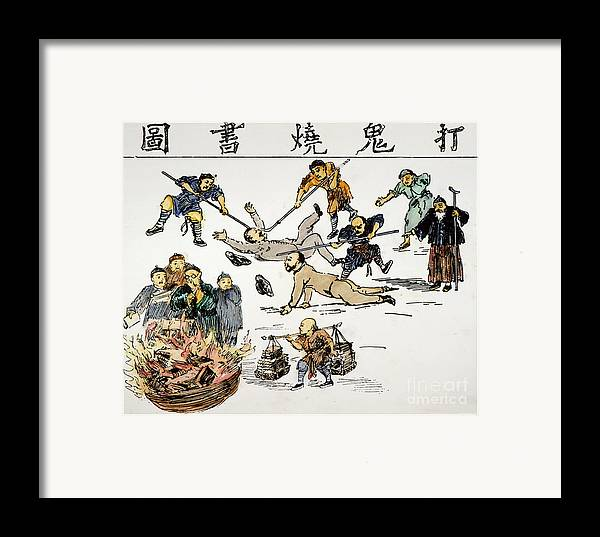 1890 Framed Print featuring the painting China: Anti-west Cartoon by Granger