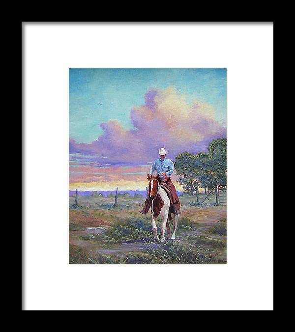 Landscape Framed Print featuring the painting 050617-1620  Today Is A One Man Job by Kenneth Shanika