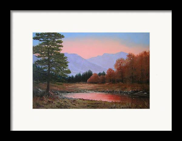 Landscape Framed Print featuring the painting 051116-3020   First Light Of Day  by Kenneth Shanika