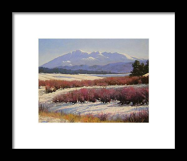 Landscape Framed Print featuring the painting 051209-1814 Pikes Peak - North View by Kenneth Shanika