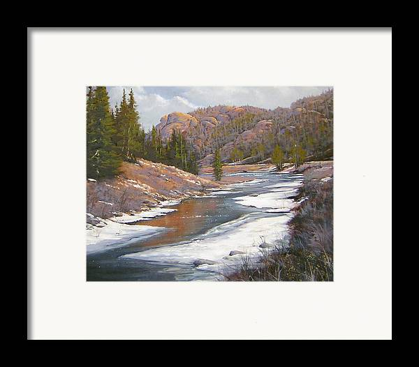 Landscape Framed Print featuring the painting 060112-2016  January Freeze  by Kenneth Shanika