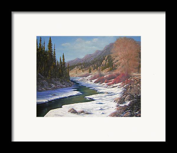 Landscape Framed Print featuring the painting 060328-2822  Remnants Of Winter  by Kenneth Shanika