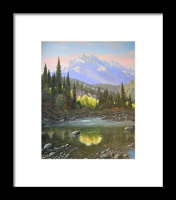 Landscape Framed Print featuring the painting 060409-2430 Long Scraggy Mountain - Reflections  by Kenneth Shanika