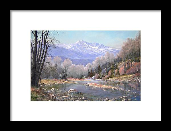 Landscape Framed Print featuring the painting 060521-3624 Spring In The Rockies by Kenneth Shanika