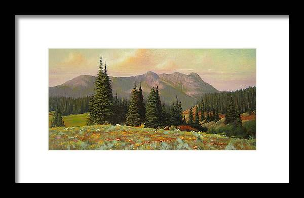 Landscape Framed Print featuring the painting 060815-1224 Late Summer Flowers by Kenneth Shanika