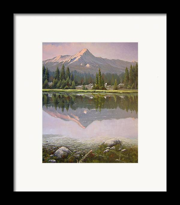 Landscape Framed Print featuring the painting 060923-2430 Reflections At Days End  by Kenneth Shanika